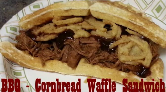Barbecue Cornbread Waffle Sandwich