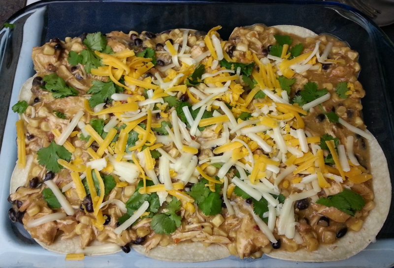 Layering the Mexican Chicken Casserole