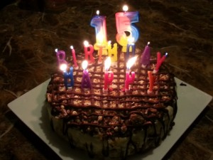 Happy Birthday Son!  Samoas Ice Cream Birthday Cake
