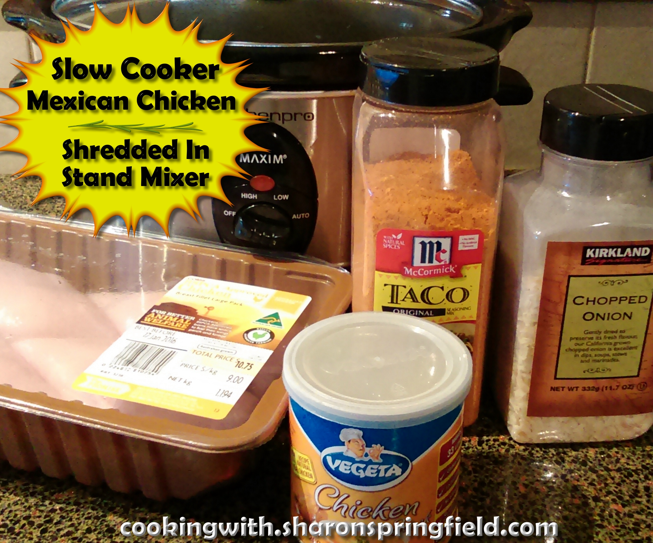 Slow Cooker Mexican Chicken Shredded In Stand Mixer